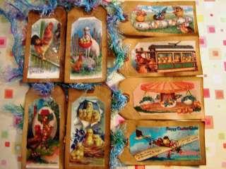Large Primitive, Vintage Easter Hang Tag Ornies, vintage easter