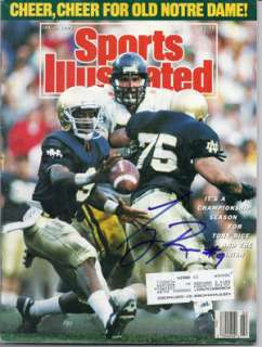 TONY RICE AUTOGRAPHED/SIGNED NOTRE DAME JAN 9, 1989 SPORTS ILLUSTRATED