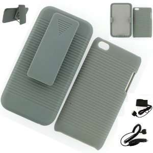 Apple iPod Touch 4G HOLSTER CASE GRAY + WALL CHARGER + CAR CHARGER