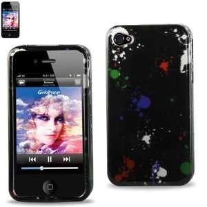 com Hard Case Designed for Men IPhone 4 4S Black w/ Splattered Paint