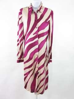GIANNI VERSACE Purple Silk Zebra Print Shirt Dress 42