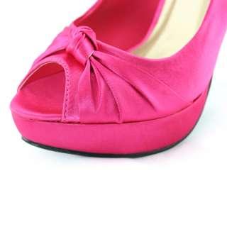 pink satin peep toe wedding platform stiletto heels pumps shoes