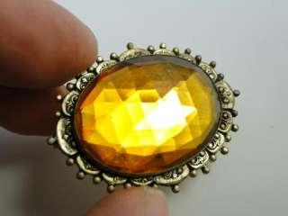 Antique Art Nouveau Amber Glass Brass Brooch Pin 1910s Vintage Retro