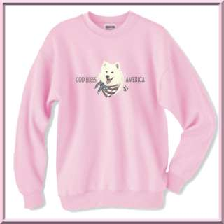 God Bless America U.S.A. American Eskimo Dog Flag SWEATSHIRT S,M,L,XL