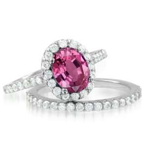 Natural Pink Sapphire Diamond Engagement Wedding Ring Bridal Set in
