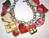 love Charm Bracelet VALENTINE, jewelry,hearts,red,pink