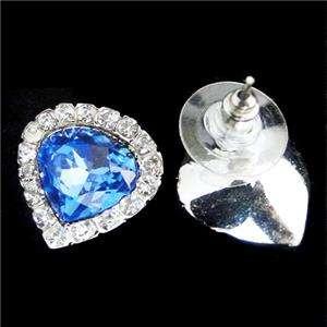 Shape Titanic Heart of Ocean Necklace Earring Set Swarovski Crystal