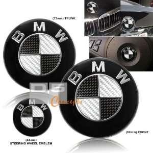 07 09 BMW E92 Hood/Trunk/Steering Wheel Emblem   Black/Real Carbon