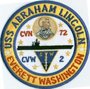 US NAVY SHIP PATCH, USS ABRAHAM LINCOLN, CVN 72, CVW 2