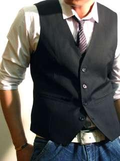 Mens Slim Fit Skinny Suit Dress Vest S1 Black US S/M/L