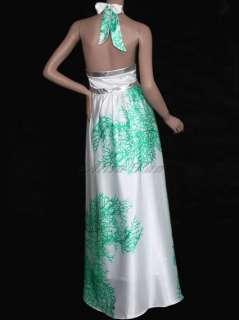 Elegant Ladies Flower Print Sexy Long Halter Club Evening Dress 09249