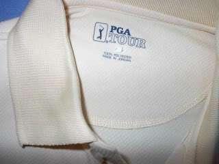 MENS PGA TOUR YELLOW GOLF POLO SHIRT S White TOUR DRY