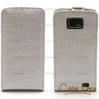 WHITE CROCODILE LEATHER WALLET CARD HOLDER CASE COVER FOR SAMSUNG