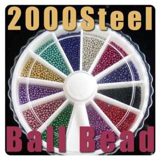 2000Pcs Mix Color Steel Ball Bead Wheel Nail Art Acrylic Tips UV Gel