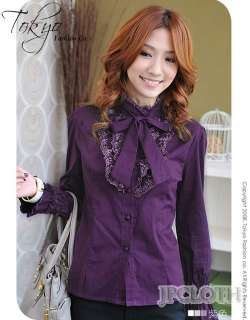 FREE S/H TO UK NEW Ribbon Womens Button Bow Vintage Lace Shirt Top
