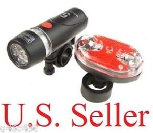 Bright Waterproof LED Bike Light SET 5 LED Headlight+9 LED Rear Light