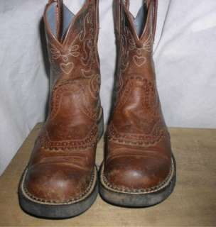 WOMENS FATBABY ARIAT COWGIRL BOOTS BROWN SIZE 9 B