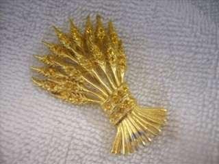Vintage ORA Gold Tone & Topaz Rhinestone Wheat Brooch