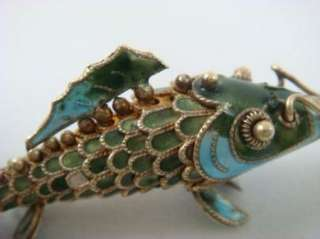 Blue Enamel Cloisonne Articulating Koi Fish Charm Pendant