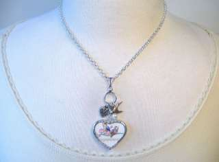 BROKEN CHINA JEWELRY VINTAGE BLUE BIRD HEART CHARM PENDANT NECKLACE
