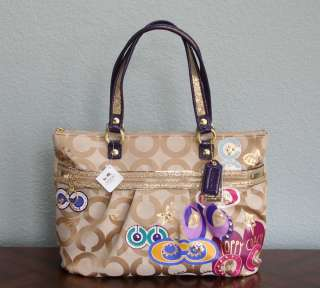 NEW COACH POPPY POP C APPLIQUE GLAM TOTE, BRASS/LIGHT KHAKI MULTI
