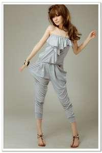 Korean Fashion Grey Tube Top Harem Pants Jumpsuit Rompe