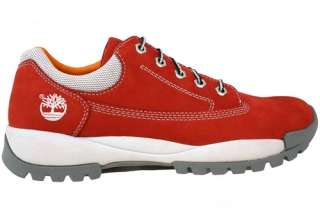 Timberland Mens Red Sneakers Lace Up Suede 29006
