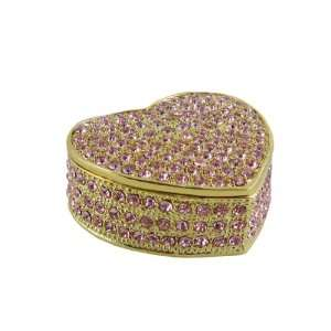 Bedazzled Heart Trinket Jewelry Box Pink Crystals Sparkling 2