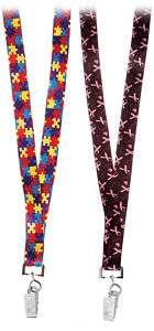 Neck Lanyard Badge Holder~ Pink Ribbon or Autism Print
