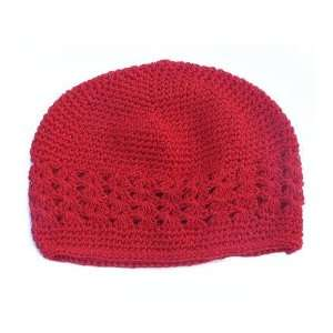 Size 2 My Little Noggin Red Crochet beanie Kufi Hat: Baby