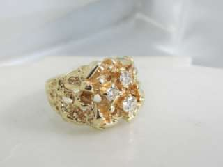 14K GOLD HEAVY NUGGET 0.500 CARAT TOTAL WEIGHT VS DIAMOND MENS RING