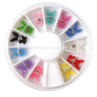 12 Colors 3D Rabbit shaped Decoration Nail Art B08