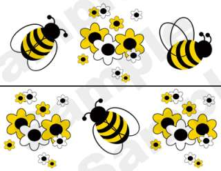 BEES FLOWERS BABY NURSERY WALL BORDER DECALS STICKERS 3