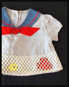 Vintage baby girl SAILOR SHORTS top dress OUTFIT 6 mo