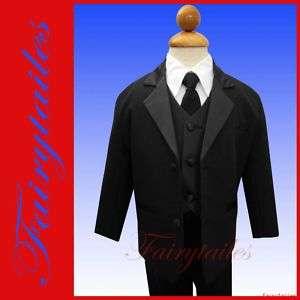 Infant Baby Boy Tuxedo w/ Tie Black Suit S 3 6 months