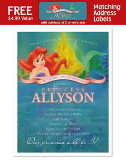 LITTLE MERMAID Princess Birthday Party INVITATIONS