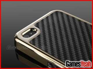 Golden Carbon Fiber Chrome Hard Case Cover F AT&T Verizon Sprint