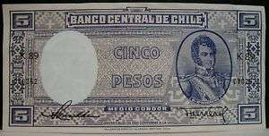 1940s Banco Central De Chile Cinco Pesos Note