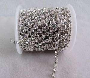4mm Diamante rhinestone crystal Silver chain Cake Banding ZL03
