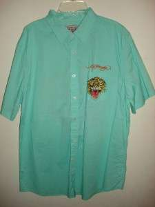 ED HARDY AQUA TIGER TATTOO MENS BUTTON DOWN SHIRT SZ L