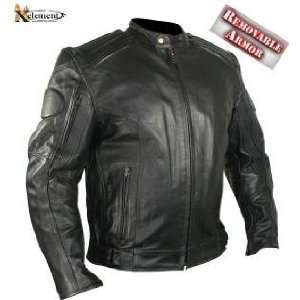Mens Executioner Armored Black Racer Motorcycle Jacket SZ