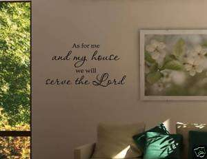 AS FOR ME AND MY HOUSE Vinyl Wall Decals Quotes Sayings