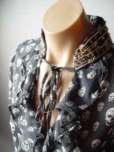 SHEER Chiffon Glam Rock Skull Print Elegant Ruffled Beaded Collar Top