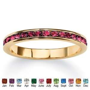 PalmBeach Jewelry Birthstone 14k Gold plated Eternity Ring
