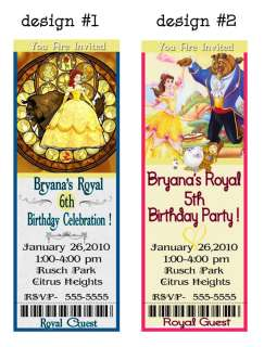BELLE Beauty Beast PRINCESS BIRTHDAY INVITATIONS Party