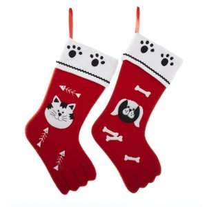 Pack of 6 Red White Black Felt Christmas Cat and Dog