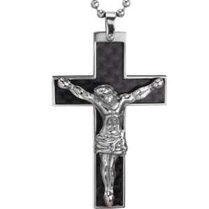 Stainless Steel Black Carbon Fiber Crucifix Cross with Jesus Christ