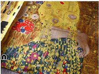 Silk Oil Painting Scarf Wrap Gustav Klimts The Kiss in Gold 2 sizes