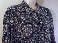 DVF DIANE VON FURSTENBERG size 2X 3X Black & White Long Sleeve Blouse