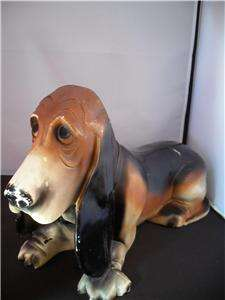 Vintage Basset Hound Collectible Bank With Coin Cover
